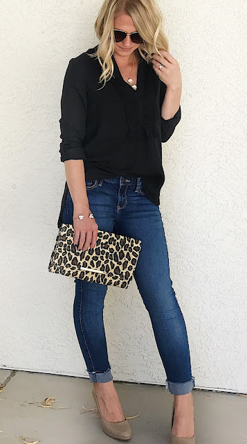 Thrifty Wife, Happy Life | Black blouse with a pop of leopard print