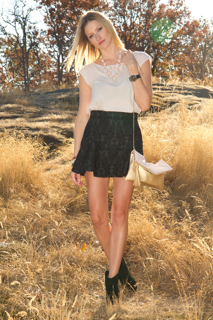 Vancouver Fashion Blogger, Alison Hutchinson, wearing Kookai nude top, H&M necklace, Zara forest green mini skirt, Urban Outfitters black suede boots, XO Bella and True Worth Design bracelets, H&M pink and gold bag