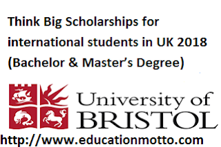 Bristol University Think Big Scholarships for international students in UK 2018