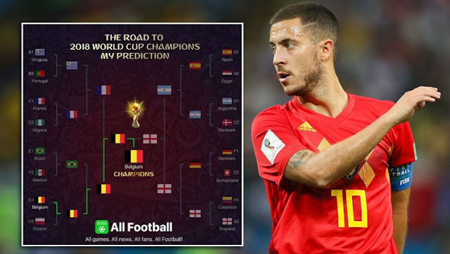 Piala Dunia 2018 : Buat Prediksi, Tebakan Hazard Nyaris Sempurna