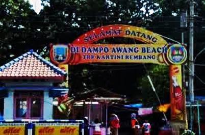 Gambar gapura gerbang masuk wisata taman kartini atau Dampo Awang Beach Rembang
