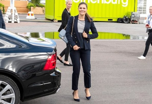 Crown Princess Victoria wore Hunkydory Midnight Navy Blazer. Hunkydory top, By Malene Birger pumps, H&M trousers
