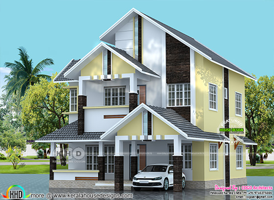 Modern sloping roof 1840 sq-ft house