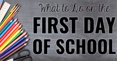 "School supplies with text, ""What to do on the first day of school."""