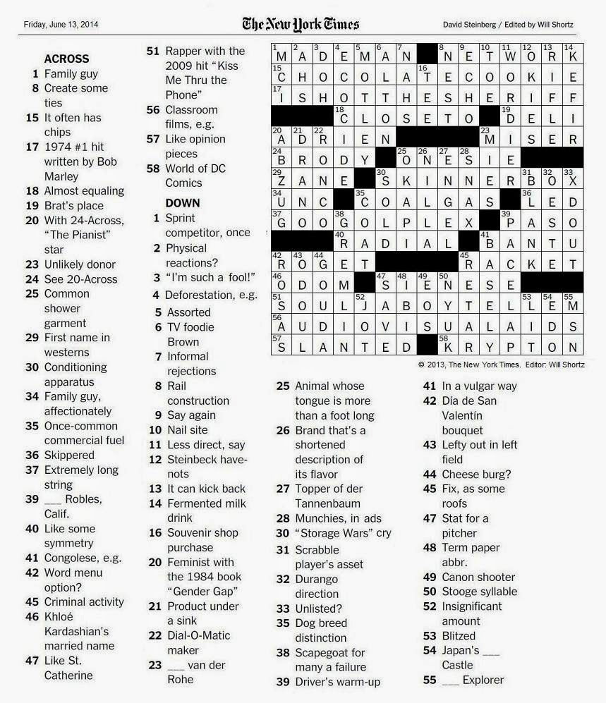 The New York Times Crossword in Gothic: 06.13.14 — The