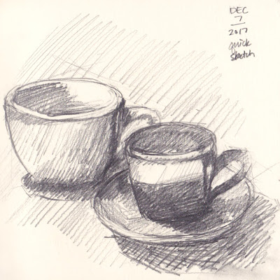 Daily Art 12-7-17 still life sketch in graphite number 59 - white and black mugs