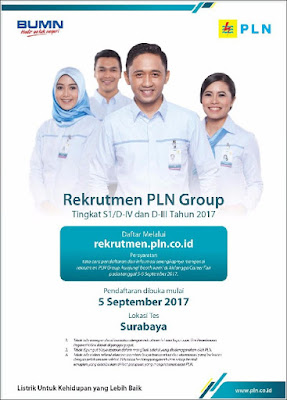 Rekrutmen PLN Surabaya - Lowongan Kerja untuk Pembangkit Listrik Negara ini akan dibuka untuk umum setara tingkat S1, D4 dan D3, dibuka tanggal 5 September 2017 dan lokasi tes rekrutmen dilakukan di kota Surabaya.