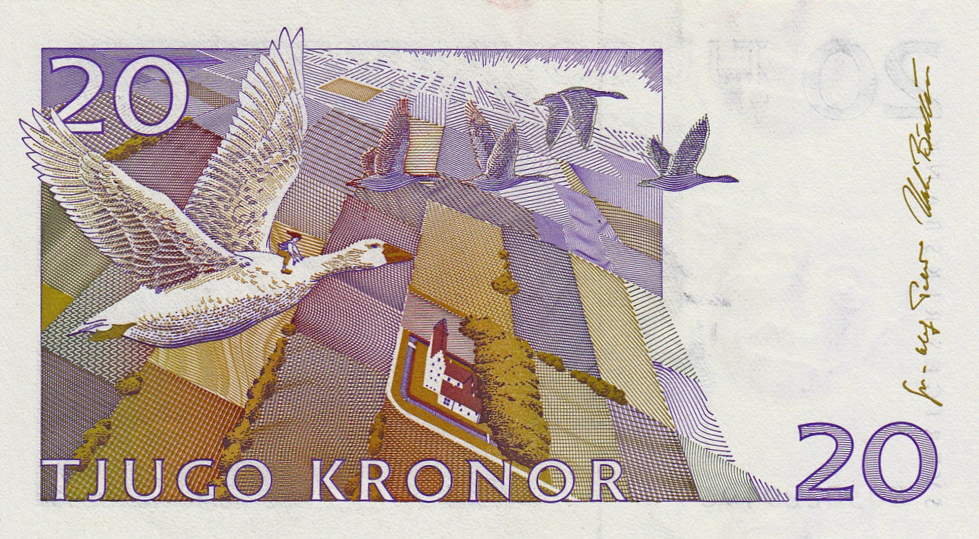 Sweden banknotes 20 Swedish Krona Wonderful Adventures of Nils and Morten goose