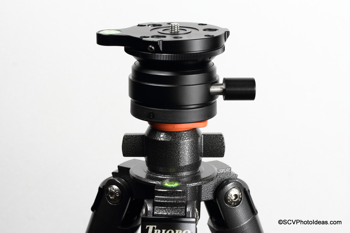 Triopo GX-1328 top mounting plate w/ Alu spacer and Sunwayfoto DYH-66i Leveling Base