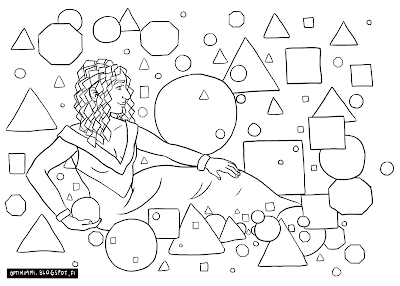 A coloring page of a woman with geometric shapes / Värityskuva naisesta geometristen muotojen keskellä