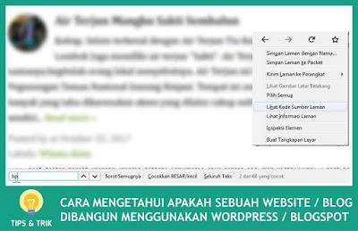 Cara Mengetahui Apakah Sebuah Blog/Website Orang Lain Dibuat Menggunakan Wordpress/Blogspot