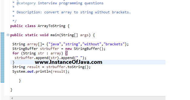 How to convert array to string without brackets in java
