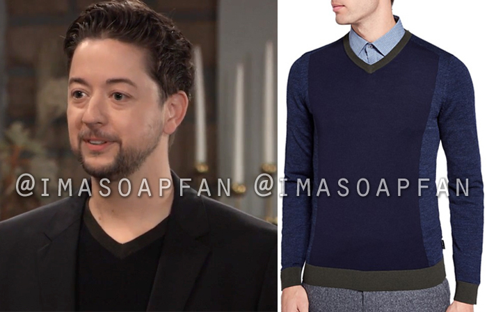 Damian Spinelli, Bradford Anderson, Blue and Green Colorblock V-neck Sweater, General Hospital, GH