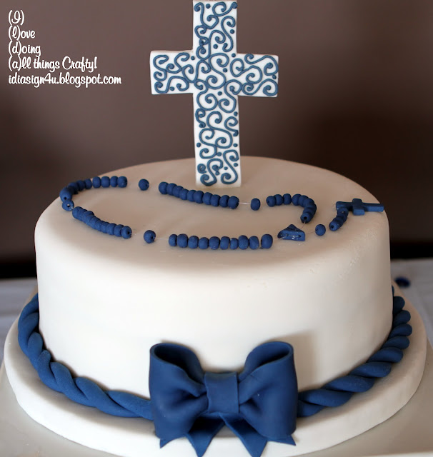 Simple Communion Cake for a Boy by ilovedoingallthingscrafty.com