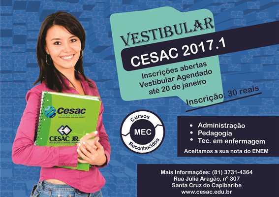CESAC abre inscrições para vestibular 2017.1