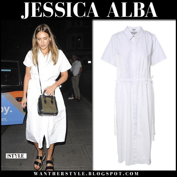 Jessica Alba in white midi kenzo shirt dress with studded bag alexander mcqueen street summer style june 26