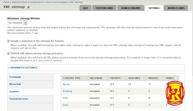 Sitemap Drupal untuk SEO