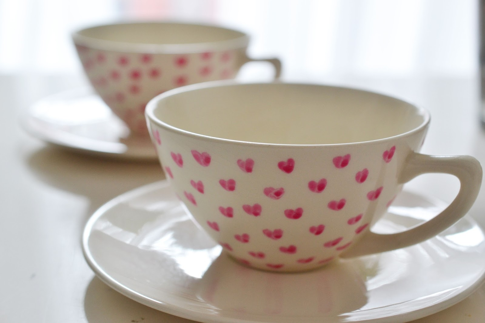 Heart of Gold: Heart Painted Ceramic Tea Cups
