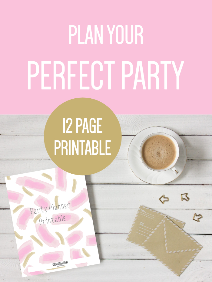 Plan your perfect party with this 12 page printable party planner, including budget, guest list, menu, drinks, decoration, mood board and shopping list.