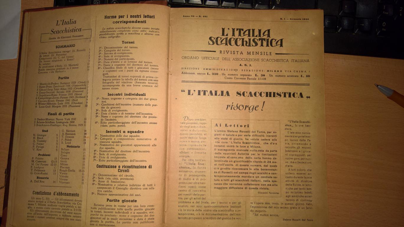 8dd23e668a La già ben fornita biblioteca del Circolo si è arricchita di un nuovo  volume: la raccolta rilegata dell'Italia Scacchistica 1946, che ci siamo  aggiudicati ...