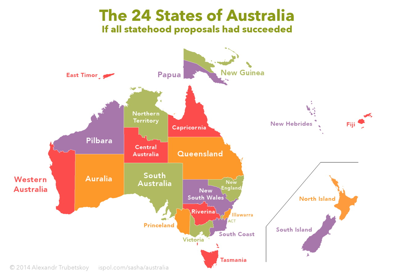 The 24 states of Australia if all statehood proposals had succeeded
