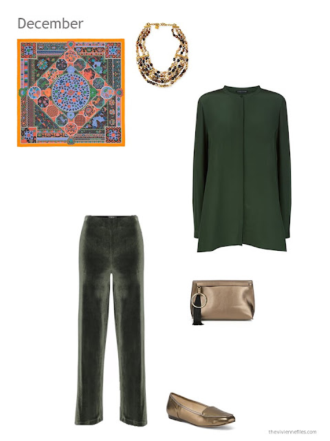 a green silk tunic with green velvet pants