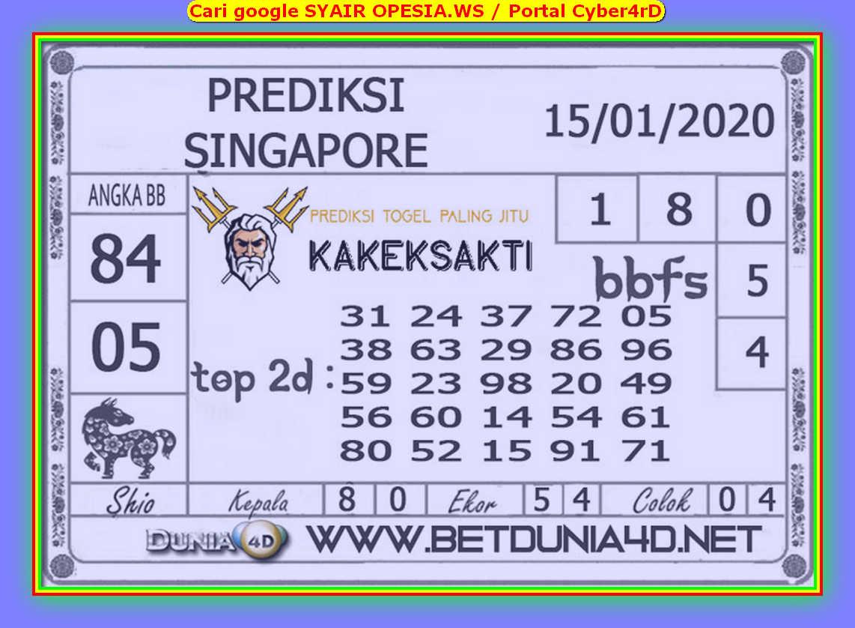 Kode syair Singapore Rabu 15 Januari 2020 123