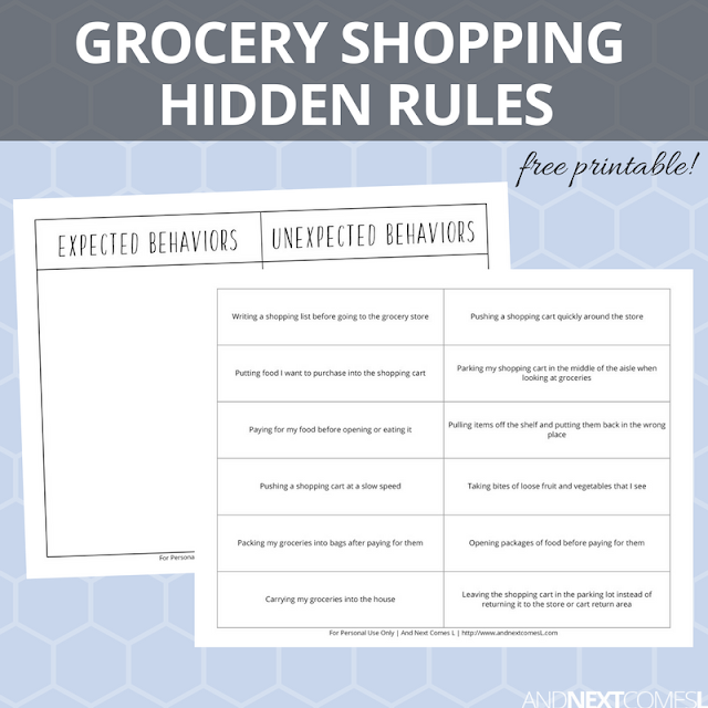 Free hidden rules social skills printable about grocery shopping from And Next Comes L