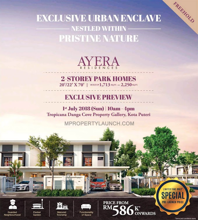 Pre-launching Ayera Residences, 2 Storey Terrace House @ Tropicana Danga Cove