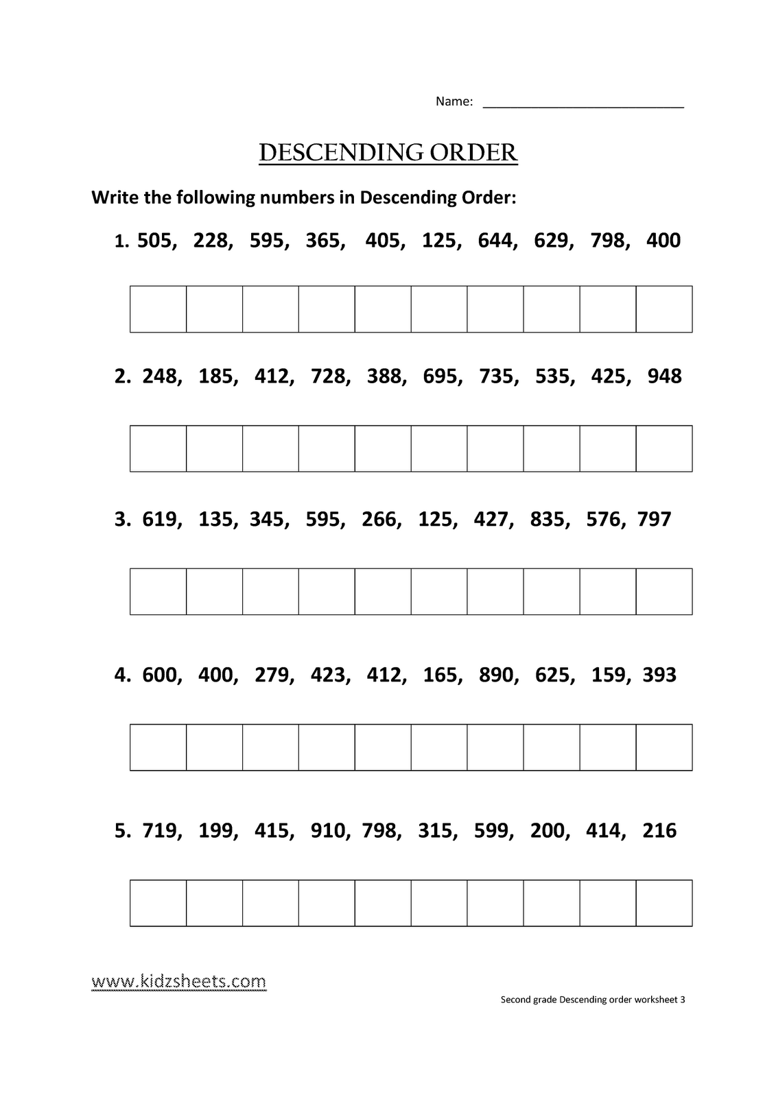 Kidz Worksheets Second Grade Descending Order Worksheet3