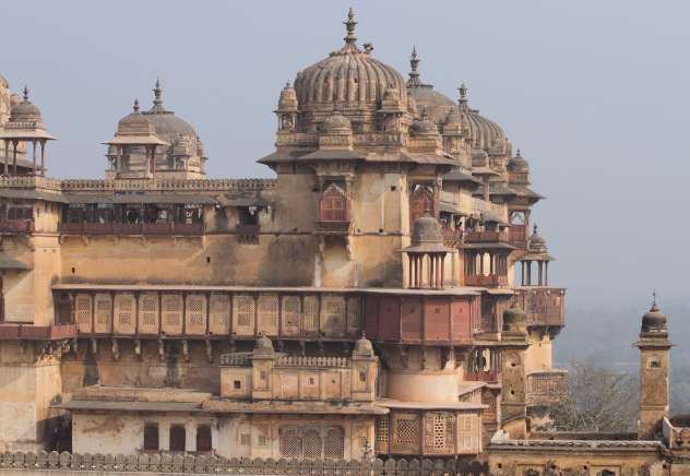 Stunning tiered levels of Jehangir Mahal, Orchha, Madhya Pradesh, India