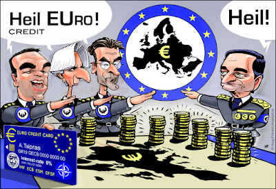 cartoon Democracy or EUrocracy? Heil ECB eurocreditcard Tsipras Legarde Dijsselbloem Draghi