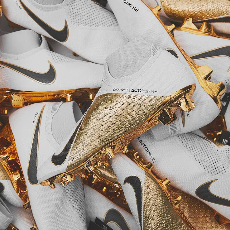 promo code 7b6e8 8d2bc White / Gold Nike Phantom Vision Limited-Edition Boots ...