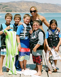 Camp Counselor Jacquelyn Derian and her Kahuna Camp group wait their turn to go jet skiing and boating at Aloha Beach Camp Summer Camp in Los Angeles.