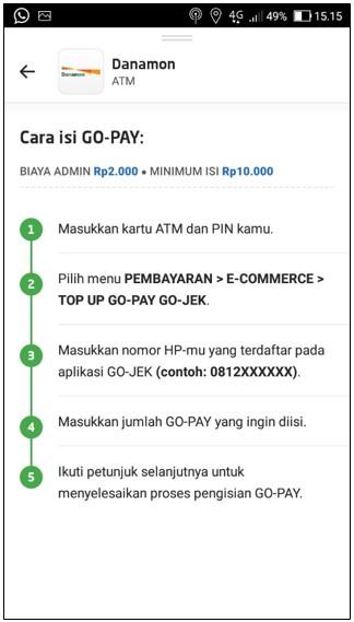 Cara Top Up Go Pay Menggunakan ATM Danamon