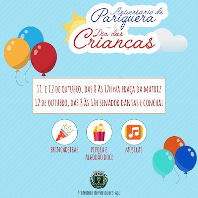 Festa para as crianças marca o aniversário de emancipação político-administrativa de Pariquera-Açu