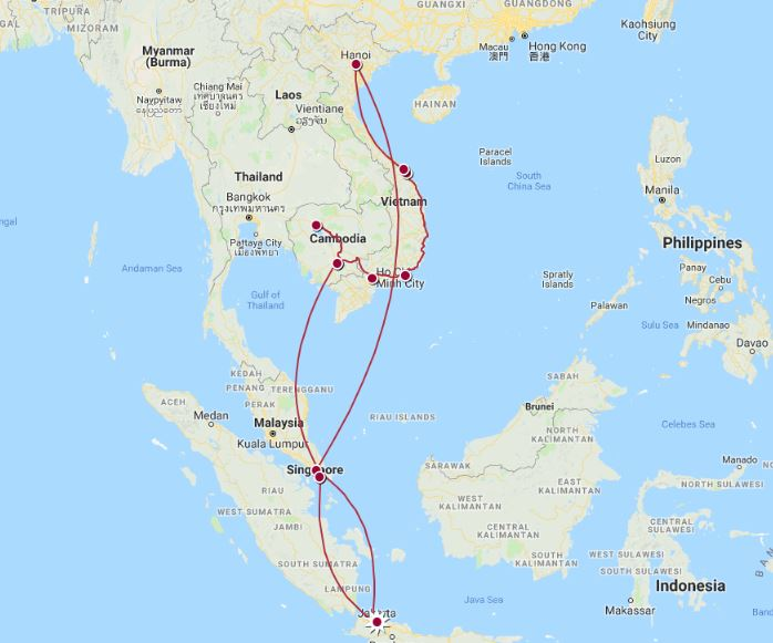 South East Asia Trip Route