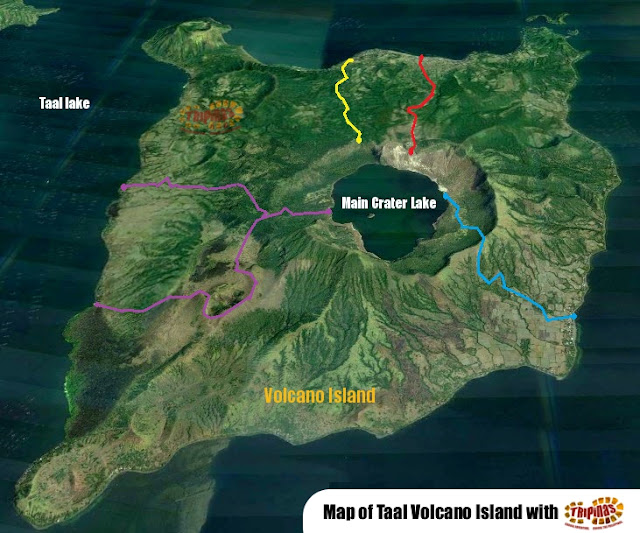 Map of Taal Volcano Island trails