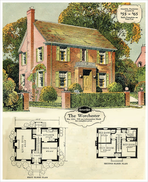 1929 two story brick house from sears with floor plans for Brick kit homes