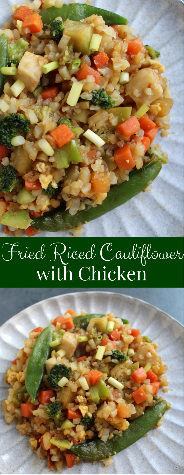 Fried Riced Cauliflower with Chicken uses riced cauliflower instead of traditional rice for extra fiber and vitamins, lots of veggies and is ready in just 15 minutes! #cauliflower #rice #asian #healthy #cleaneating