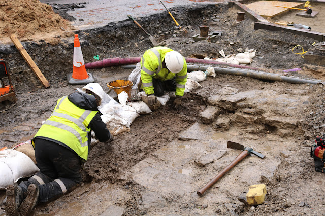 14th century castle walls unearthed during roadworks in Orkney