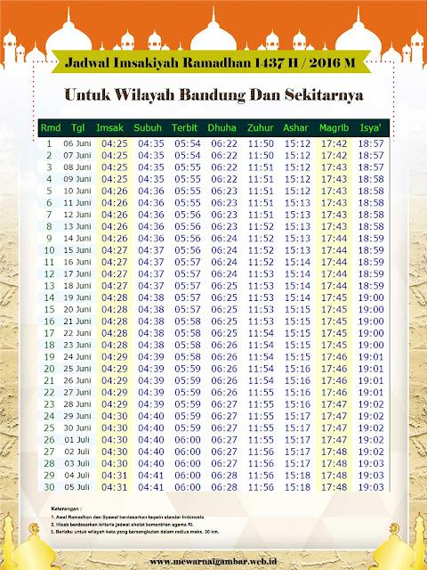 Jadwal Imsakiyah 2016 1437 H Kota Bandung