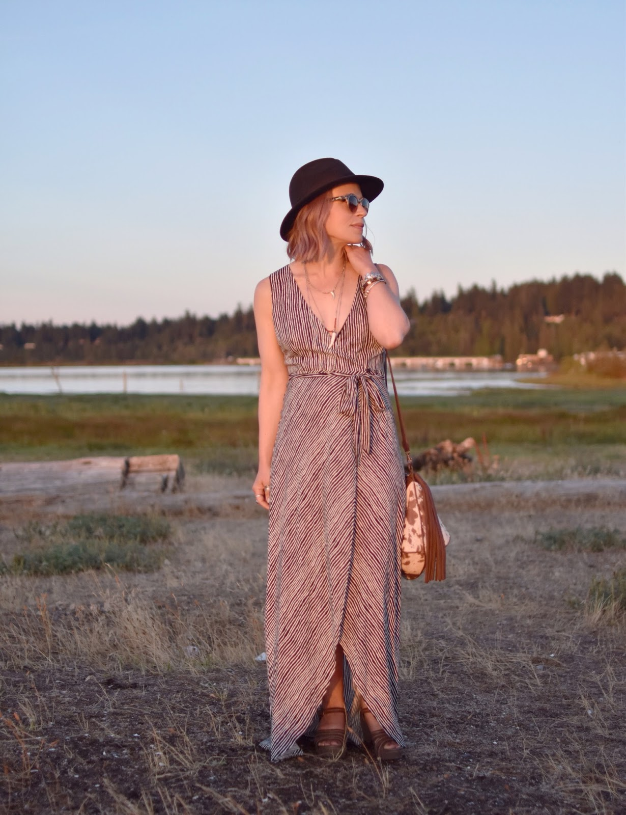 Sundowner:  styling a striped maxi-length wrap dress with a felt fedora and boho accessories