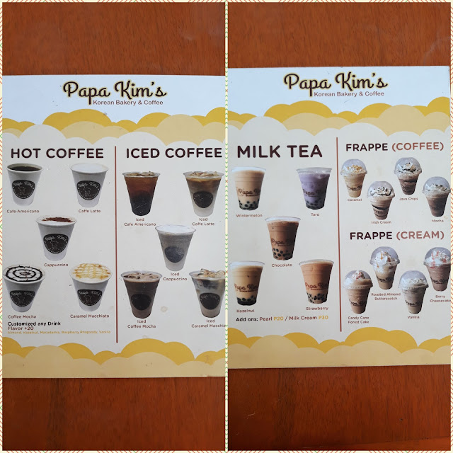 Papa Kim's beverages include hot or iced coffee, milk tea, and frappe in coffee- or cream-based.