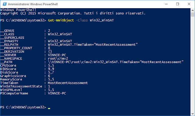 Indice Prestazioni Windows 10 in PowerShell
