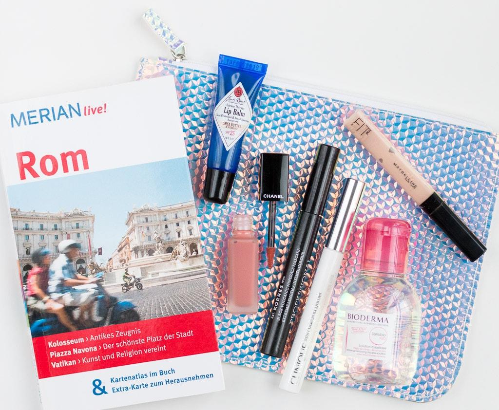 Beautyprodukte für die Rom Reise Mascara und Lippenpflege