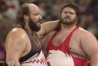 WWF / WWE: WRESTLEMANIA 8 - The Natural Disasters were irate about not winning the titles Money Incorporated (Ted Dibiase and IRS)