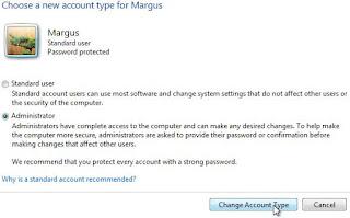 Windows Vista, choisissez un nouveau type de compte. Sélectionnez le type de compte que vous souhaitez et cliquez sur le bouton «Modifier le type de compte».