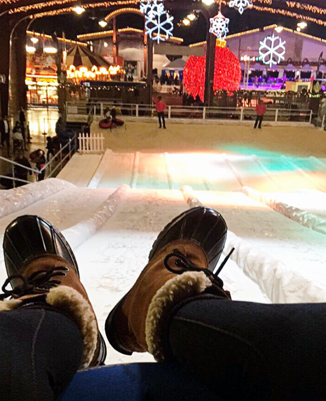 Snow Tubing at Winter Fest OC in Costa Mesa, Calif.
