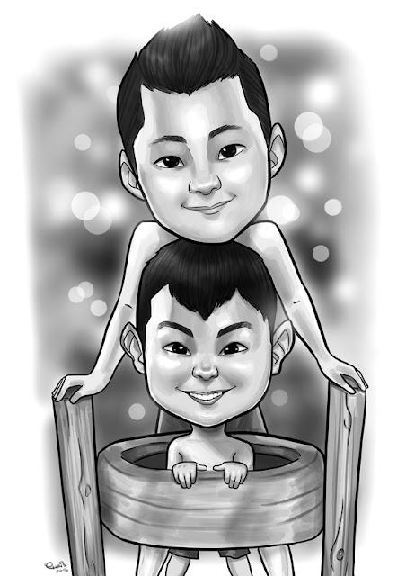caricatura digital online familia jundiai